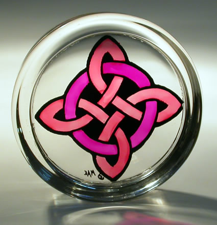 Stained Glass Paperweight Celtic Circle & Cross Pink