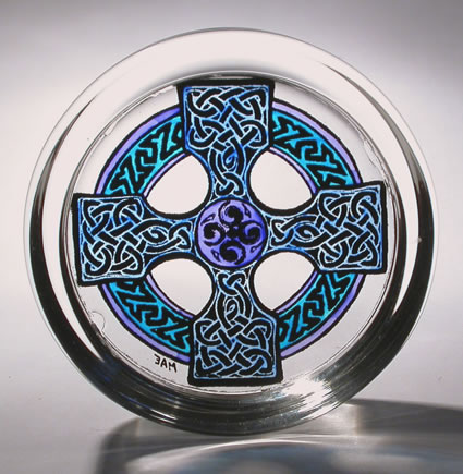 Stained Glass Paperweight - Celtic Cross