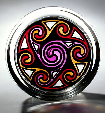 Stained Glass Paperweight - Celtic Swirls