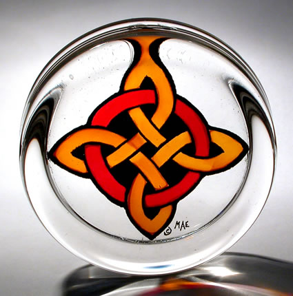 Celtic Paperweight - Cross and Circle Red & Gold