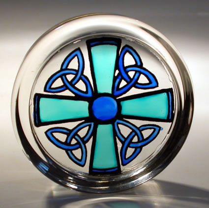 Stained Glass Paperweight Celtic Cross and Triskeles Blue