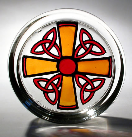 Stained Glass Paperweight - Cross and Triskeles - gold and red
