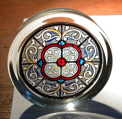 Stained Glass Paperweight - Grisaille - Sainte Chapelle - Paris