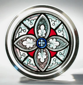 Stained Glass Paperweight - Grisaille Motif - Canterbury Cathedral