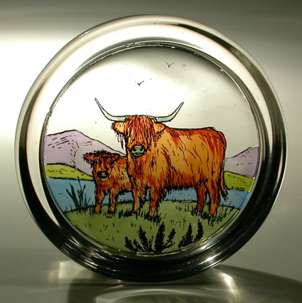 Stained Glass paperweight - Scottish - Highland Cattle