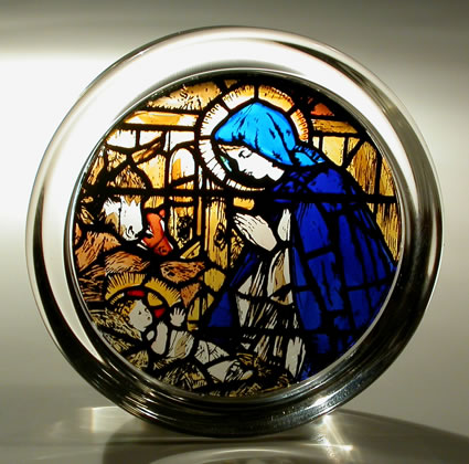 Stained Glass Paperweight - Canterbury cathedral - Madonna and Child