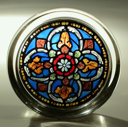 Stained Glass Paperweight - Quatrefoil Motif - Canterbury Cathedral