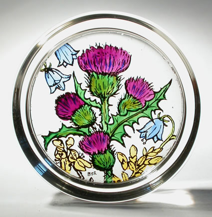 Stained Glass Paperweight - Scottish - Scottish Flowers