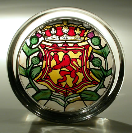 Stained Glass Paperweight - Scottish Lion and Thistles