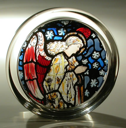 Stained Glass paperweight - cathedral - William morris Angel